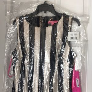 Betsey Johnson Striped Sequin Dress Size 6 NWT